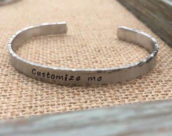Customized Hand Stamped Bracelet, Personalized Cuff Bracelet, Custom Bracelet, Mom Kids Names Bracelet, Grandkids Bracelet for Grandma