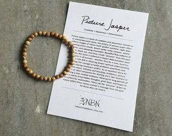 Picture Jasper Bracelet // Jasper Bracelet // Crystal Bracelet // Gemstone Bracelet // Yoga Bracelet // Energy Bracelet // Yoga Gifts