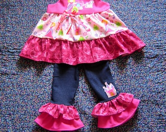 Boutique Toddler Girls Princess Outfit 2T, 3T, 4T, 5T, 6, 7/8 Roses top blouse leggings pants
