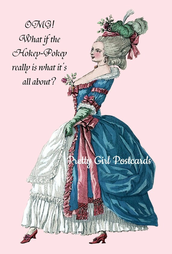 """Witty Card Hokey Pokey Postcard Funny Marie Antoinette Card Pretty Girl Postcards """"OMG What If The HokeyPokey Really Is What It's All About"""""""