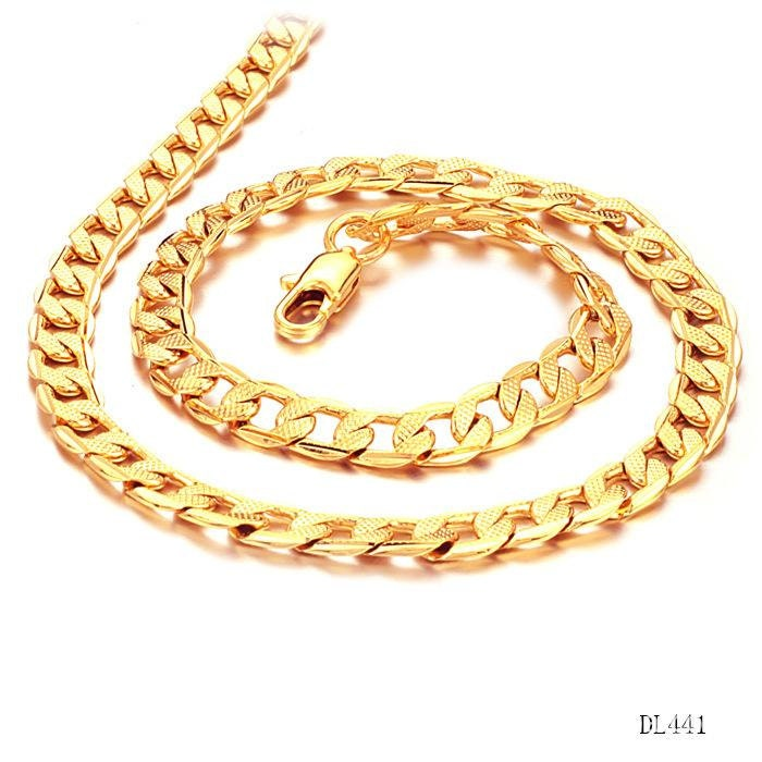 18K Gold Chunky Cuban Link Chain Necklace Set Men Jewelry