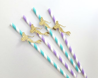The little mermaid drinking paper straws, in gold glitter, blue and purple. Mermaid party, under the sea party, baby shower, birthday party.