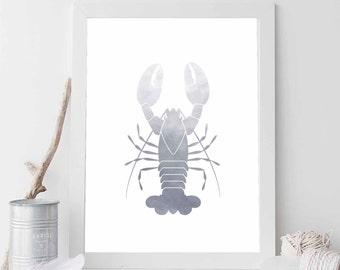 Grey Lobster Print, Lobster Print, Lobster Art, Nautical Lobster, Nautical Nursery Art, Nautical Home Decor, Bathroom Print, Nautical