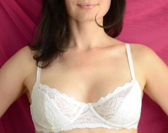 Women Sleepwear & Intimates Bras The White Lace Padded 2/3 Underwired Bra MADE TO ORDER