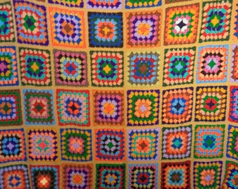 Afghan large bed spread// TWO granny square crochet rainbow 70s bohemian hippie blankets// Size fits full and queen