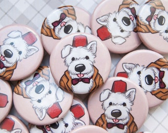 Doctor Who Button, Pin Badge, Matt Smith Pin, Westie Button, Dr Who, Eleventh Doctor, Cute Dog Button, Dog Badge, Cute Doctor Who