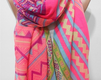 Mothers Day Gift For Her Tribal Scarf Shawl Oversize Aztec Scarf Pink Infinity Scarf    Winter Fashion Accessories Gift For Mom Holiday
