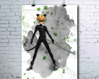 Cat Noir - Miraculous Ladybug - Cat Noir Poster - Cat Noir Printables - Cat Noir Print - Cat Noir Wall Art - Cat Noir Art - Watercolor Print
