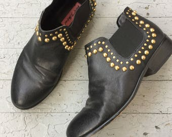 Vintage 90's Black Leather Betsey Johnson Studded Ankle Boots, 7.5