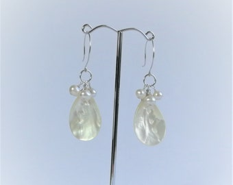 Shell and White Pearl Earring