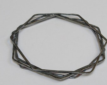 Sterling silver handmade oxidised hexagon bangle, hallmarked in Edinburgh
