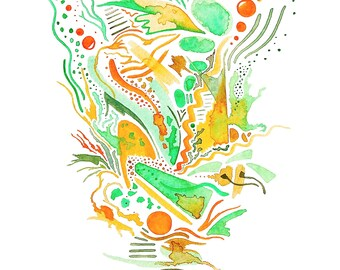 Original abstract watercolor painting, abstract painting, modern home decoration, colorful watercolor wall art, orange and green wall art