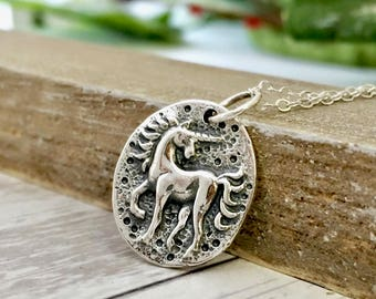 Unicorn Necklace - sterling silver jewelry - gift for her - back to school - daughter - unicorn coin charm pendant- unicorn jewelry fantasy