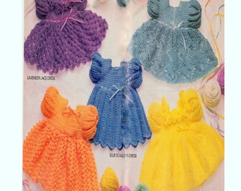 Vintage Crochet Pattern Booklet   Five Crochet Dress Patterns  Baby - Toddler Lace Ripple Scallops Pineapple