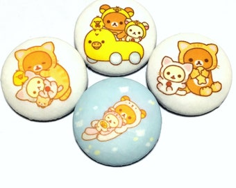 "covered button set  ""Rilakkuma-ish"" (2) animal style"