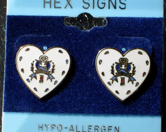 Hex Heart Vintage Earrings Hoffman Double Distelfink Birds Dutch Good Luck Signed Dutch Pennsylvania Original Card 1970's Gold White Enamel