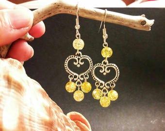 Earrings with rock Crystal