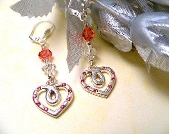 Earrings,  Heart Earrings, Pink Earrings, Valentine Day Gift, Dangle Earrings, Pink Heart Earrings, October Birthstone, Austrian Crystal