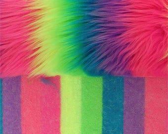 PRE CUT***Shaggy Luxury Faux Fake Fur Fabric (Rainbow)