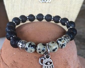 Dalmation stone, jasper and lava stone gemstone bracelet set. Yoga bracelet with ohm charm and matching earrings