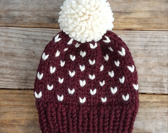 Slouchy Beanie, Knit Hat, Toque, Pom Pom Hat, Fair Isle Hat, Fairbanks Beanie - in Claret