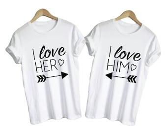 I Love Him Shirt, I Love Her Shirt - Matching Shirts Lovers Boyfriend Girlfriend Wife Husband Just Married Arrow Heart Couple Shirts Cute