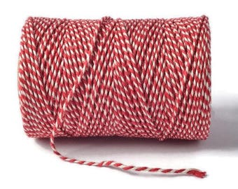 Red & White 2mm 100% Cotton Bakers Twine *Sold Per 5mtr*