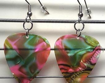 Rainbow Pearl Genuine Guitar Pick Earrings