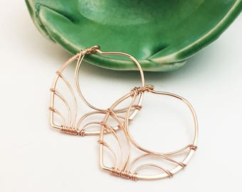 Rose Gold Filled Wired Wrapped Petal Hoop Earrings - E460RG-S -handmade wire jewelry by cristysjewelry