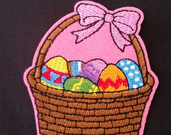 easter basket iron on applique patch image embroidered embellishment