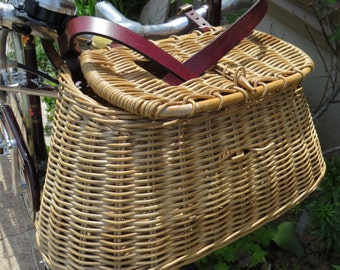 Up-Cycled Wicker Fishing Creel now Bicycle Basket