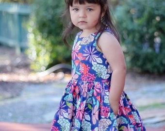 Little Girl Dress, Toddler Dress, Twirl Dress, Sleeveless Dress, Floral Dress, Handmade Dress, Baby Dress, Summer Dress, SIZES 3/6m to 9