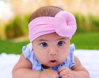 U PICK TURBAN Head wraps Bows, Fabric cotton knot headbands, Large pack of girls hairwraps  pink aqua ivory nylon