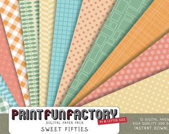 Fifties digital paper - retro 50s patterns - 12 digital papers (069) INSTANT DOWNLOAD