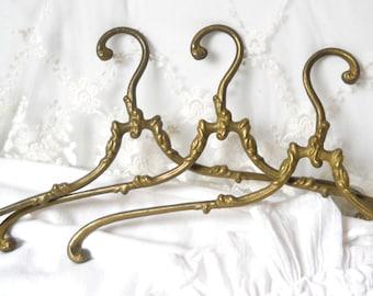 1 vintage brass wedding dress hanger coat hanger antique brass clothes hanger french coat hanger french vintage art nouveau antique brass