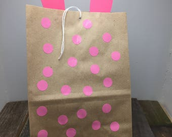 Pink and Brown Easter Bunny Party Bag, Easter Bunny Party Bag, Easter Bunny Treat Bag, Pink Bunny Bag, Easter Treat Bag, Bunny Party Bag