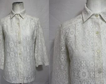 70s Boho Lace | Vintage Nylon Medallion White Lace Blouse w/ Bell Sleeves | Hippie 1970s | Womens Sm Med | 32-36 Bust | Sexy Peekaboo