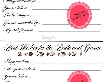 """PRINTABLE Best Wishes Sheet, 2 per page, DIY Wedding Activity - 8.5x11"""" Printable"""