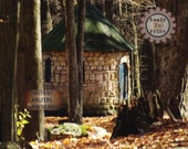 Stone Woodland Cottage Fine Art 8X10 Digital File Round Hut Photo