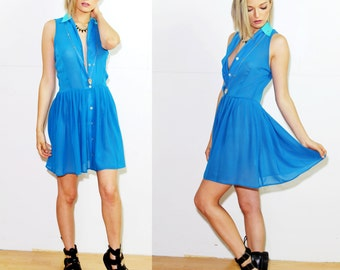 """Voyage Clothing """"burano"""" sleeveless button down dress in bright blue"""