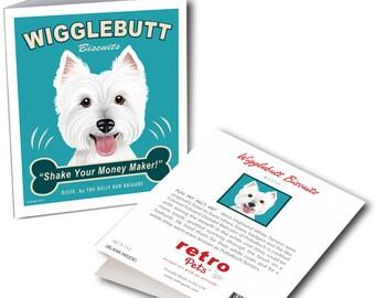 "Westie Art ""Wigglebutt Westie"" 6 Small Greeting Cards by Krista Brooks"