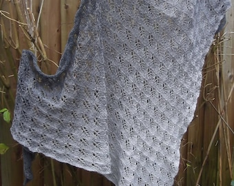 Simply Enormous Grey Knitted Lace Shawl