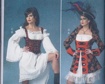 Butterick 6114 Misses Women's Steampunk Goth Corset Pirate Jacket Chemise Dress UNCUT Sewing Pattern