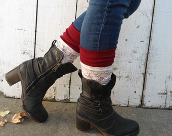 boot toppers, lace and ruby boot cuffs, Lace and ruby boot toppers, maroon boot cuffs, lace legwarmers, fall clothing, ruby boot socks