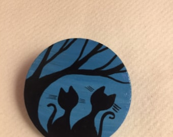 Hand painted wooden brooch