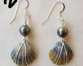 Sunrise shell tahitian pearl earrings