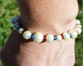 Glass Pearl Bracelet, Stretch Bracelet, Off -White Glass Pearls with Red and Blue Glass Beads Stretch Bracelet