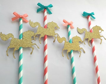 Turquoise blue, coral and gold Carousel Horse cupcake toppers on paper straws. Carousel party, carousel birthday, cake topper