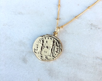 Gold Dipped Roman Coin Pendant on a Gold Filled Chain | Roman Gold Coin Replica on a Gold Filled Satellite Chain