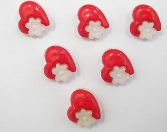 LOT 6 buttons: red heart + white 14mm flower